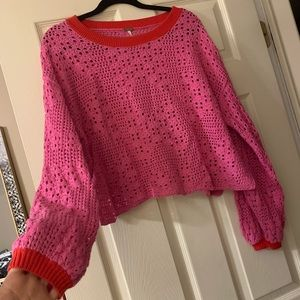 Free People Crochet Cropped Sweater